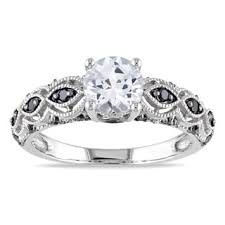 white and black diamond engagement rings miadora 10k white gold 1 1 4ct tdw black diamond engagement