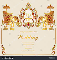 Marriage Invitation Card Sample Indian Wedding Invitation Card Templates Gold Stock Vector