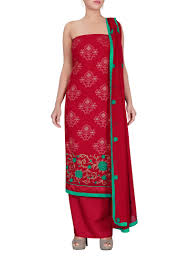 buy red chiffon dress material dress materials online shopping