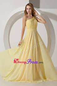 yellow empire one shoulder beaded for prom dress