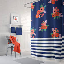 Red Coral Home Decor by Stripes And Floral Shower Curtain Navy Blue Coral Red