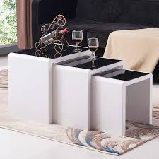 modern design high gloss white black glass nest of 3 coffee