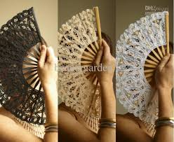 wholesale fans 2017 black white ivory wedding batten lace