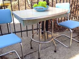 half table for kitchen no chairs refurbished houndstooth 1940 s tan linen retro laminate