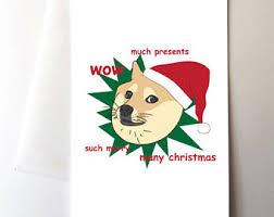 Christmas Doge Meme - doge christmas card etsy uk