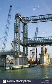 the temporary lift bridge and construction work on the bridge of