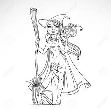 cute witch with a broom and pumpkin black and white outline for