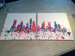houston skyline with acrylic paint on canvas art ideas