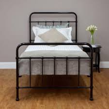 Single Bed Iron Frame New Sturdy Black Single Steel Frame Bed Hospital Style Vintage