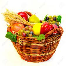 organic fruit basket rattan basket of fresh organic fruits stock photo picture