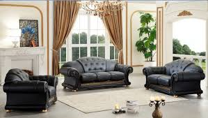 Leather Furniture Sets For Living Room by Versace Living Room Set Black Buy Online At Best Price Sohomod