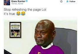 Westbrook Meme - enes kanter hits lakers fans with crying jordan meme after