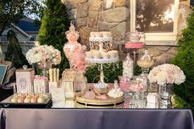 champagne and coral wedding dessert table wedding obsession