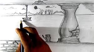 drawn scenic beautiful village scenery pencil and in color drawn