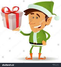 christmas elf holding gift illustration funny stock vector