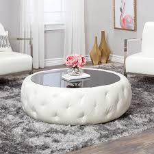 round leather coffee table abbyson havana white leather round coffee table free shipping
