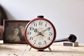 wind up clock red soviet clock bedroom clock vintage office