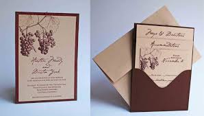 wedding pocket invitations custom grape vineyard themed single pocket wedding invitation