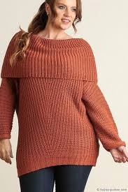 size chunky thick foldover the shoulder knit sweater top rust