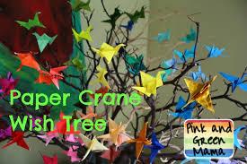 Wish Tree Pink And Green Mama Origami Paper Crane Wish Tree Remembering