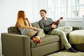 Living Room Song Young Boyfriend Play Ukulele Love Song For His Girlfriend In