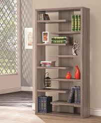 coaster bookcases weathered grey asymmetrical bookcase with glass