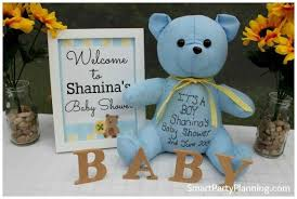 boy baby shower ideas a blue and yellow teddy baby shower spaceships and laser beams