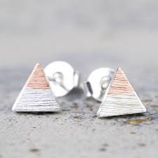 triangle stud earrings silver dipped in gold triangle stud earrings angel