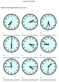 clock worksheets to learn to tell time pracovní listy jemná