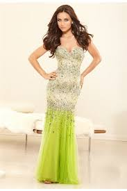 sweetheart satin lime green chiffon beaded prom dress