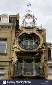 art deco balcony art deco apartment facade and balconies in brussels belgium stock