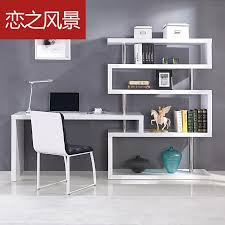 Modern Home Computer Desk Floating Landscape Modern Minimalist White Paint Shelves Corner