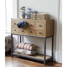 wood and metal console table with drawers wooden console