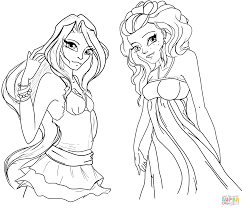 winx club girls coloring page free printable coloring pages