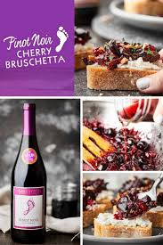 make this barefoot pinot noir cherry bruschetta for your