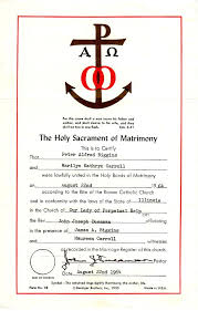catholic marriage certificate and marilyn carroll biggins family