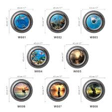 fish ship 3d ocean view porthole wall stickers decal sea cruise detail image