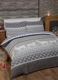 Double Duvet Set Fairisle Grey Christmas Double Duvet Bedding Set Flannelette