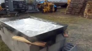 Backyard Maple Syrup by Boling Maple Sap On My Homemade Maple Syrup Evaporator Youtube