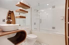 floating white bathroom shelves white porcelain floor wicker