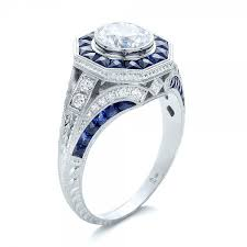 sapphire halo engagement rings deco style blue sapphire halo and engagement ring