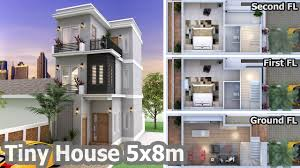 sketchup modeling 2 bedroom home plan 5x8m youtube