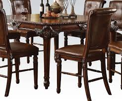 acme dining room furniture winfred 9pc counter height dining room set in cherry