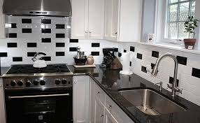black white subway tile kitchens with black and white tile my