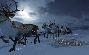 santa claus in his sleigh pulled by reindeers widescreen wallpaper
