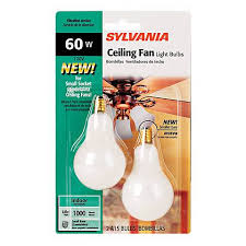 Sylvania Light Sylvania 2 Pack 60 Watt Candelabra Ceiling Fan Light Bulbs