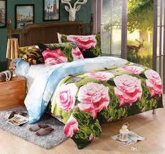 2016 3d luxury bed linen rose print bedspread flower bedclothes 3d