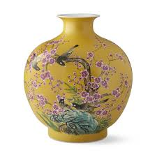 yellow vase yellow hummingbird jar pom vase williams sonoma