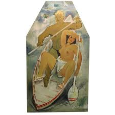 art deco style oil painting of a couple in a boat nyshowplace