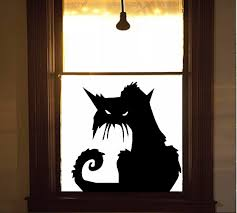 scary cat 2 wall or window decal halloween